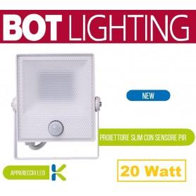 Proiettore a LED slim in alluminio 20 Watt Sensore di movimento e crepuscolare