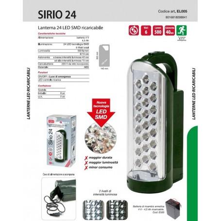 LANTERNA TORCIA RICARICABILE EMERGENZA A 24 LED 6W EL005 CFG SIRIO 24
