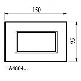 PLACCA BTICINO AXOLUTE 4 POSTI MODULI METALLO BLU MEISSEN RETTANGOLARE HA4804BM