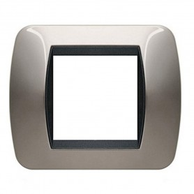 BTICINO LIVING LIGHT INTERNATIONAL L4802NN PLACCA 2 POSTI MODULI NICHEL NERO