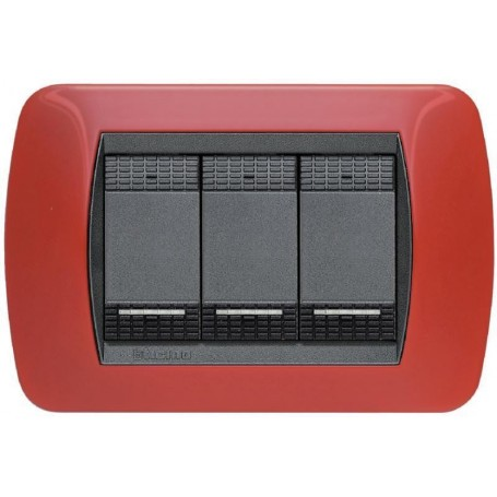 BTICINO LIVING INT - PLACCA3 POSTI ROSSO SOLID