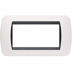 BTICINO LIVING LIGHT INTERNATIONAL PLACCA 4 POSTI BIANCO L4804BA SOLID