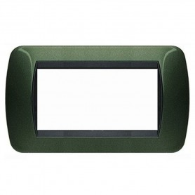 BTICINO LIVING LIGHT INTERNATIONAL L4804VT PLACCA 4 POSTI MODULI VERDE METALLIC