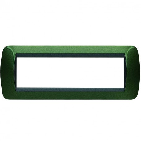 BTICINO LIVING LIGHT INTERNATIONAL L4807VT PLACCA 7 POSTI VERDE METALLIC