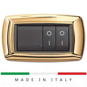 PLACCA COMPATIBILE BTICINO LIVING 4 POSTI ORO ECL2984OR ELETTROCANALI LIFE FEB