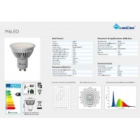 LAMPADA LED GU10 6 WATT DICROICA 20887 MARINO CRISTAL 230V LUCE FREDDA 6000K