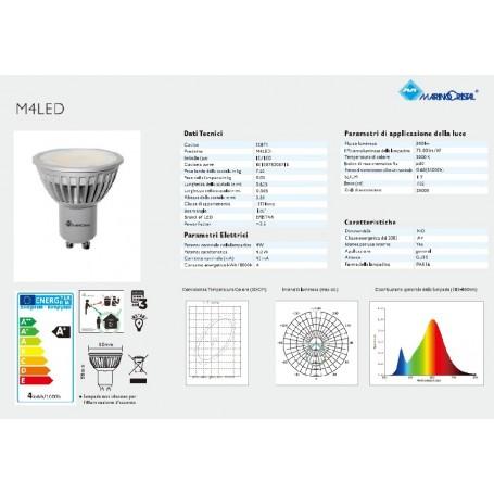 LAMPADA LED GU10 4W M4 LED LUCE CALDA 3000K MARINO CRISTAL MCA 20871