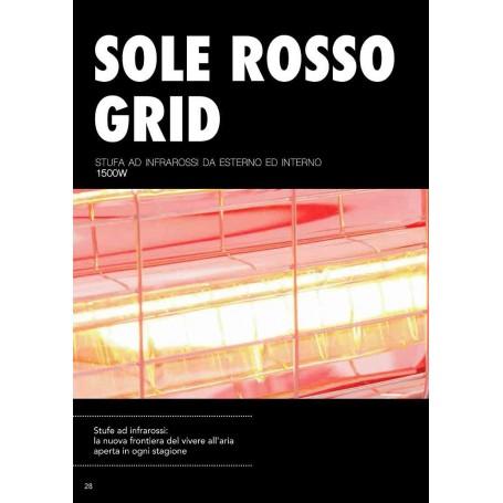 STUFA DA INTERNO ED ESTERNO AD INFRAROSSI 1500W SOLE ROSSO GRID CFG ER021
