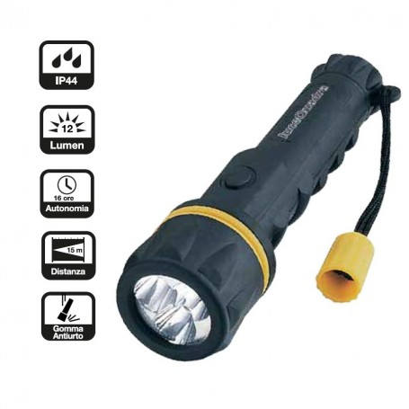TORCIA A LED A BATTERY AA CFG  EL023 IP44 12LM RUBBER LED ANTIURTO ANTISHOCK