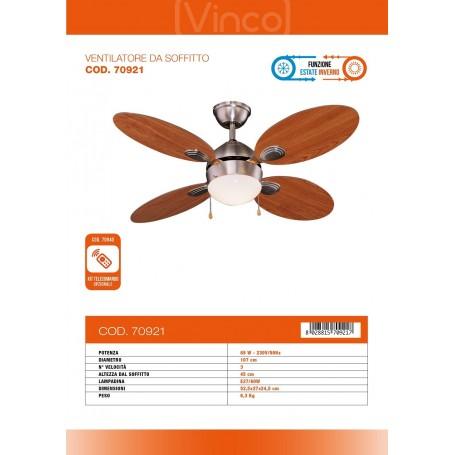 VINCO 70921 VENTILATORE DA A SOFFITTO 1 LUCE 4 PALE IN LEGNO 65W FUNZ.EST/INV