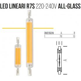 Lampada LED LINEARI R7s 220-240V ALL-GLASS 78mm 4000k 4w sld9204x3 BOT LIGHTING