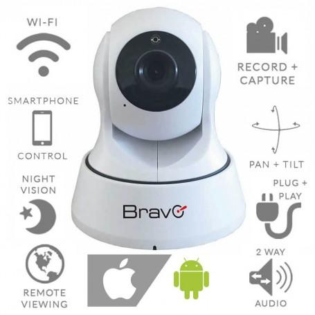 TELECAMERA WIFI IP HD INTERNO MOTORIZZATA BRAVO SMARTY 92902923 SD ANDROID IOS