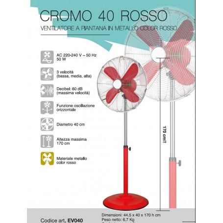 CFG VENTILATORE A PIANTANA IN METALLO CROMATO OSCILLANTE EV040 ROSSO PALA 40 50W