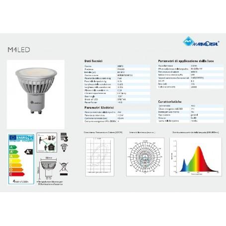 LAMPADA LED LAMPADINA 4W 230V GU10 6000K LUCE FREDDA 20872 MARINO CRISTAL