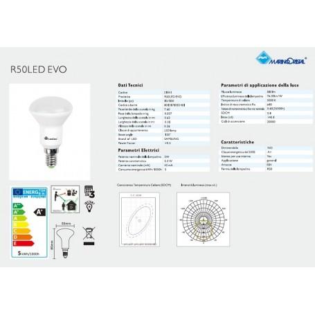 LAMPADA LED R50 LAMPADINA 5W E14 230V 3000K LUCE CALDA MARINO CRISTAL 21141