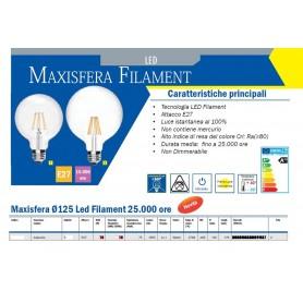 LAMPADA LED Maxisfera Ø125 Led Filament 15.000 ore 2700K E27 1055 LM A++ IMPERIA