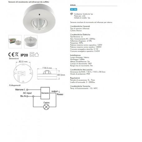 Sensore di movimento circolare ad infrarossi da soffitto 23-102 alpha elettronica