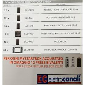 BOX COMPOSIZIONE LIFE LIVING PRESE FALSO POLO INTERRUTTORI SUPPORTO PULSANTI