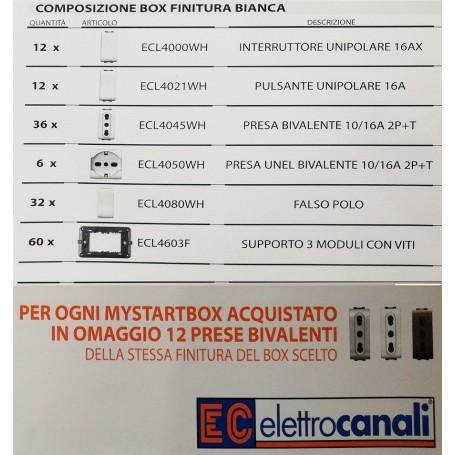 BOX KIT LIFE LIVING PRESE FALSO POLO INTERRUTTORI SUPPORTO PULSANTI BIANCA