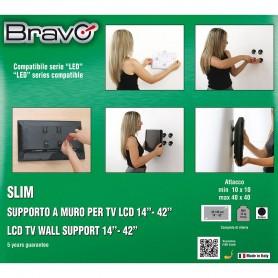 """STAFFA A PARETE PER TV DA 14"""" A 42"""" BRAVO 92402603 WALL 1"""