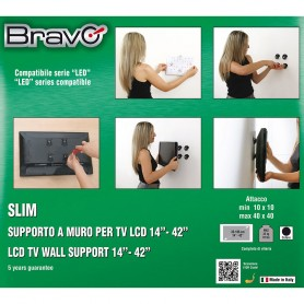 "STAFFA A PARETE PER TV DA 14"" A 42"" BRAVO 92402603 WALL 1"