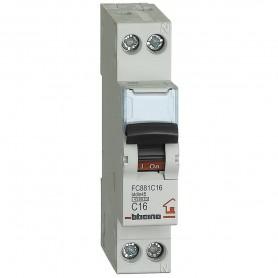 BTICINO interruttore magnetotermico 1P+N curva C 16A 4,5kA 230 Vac FC881C16