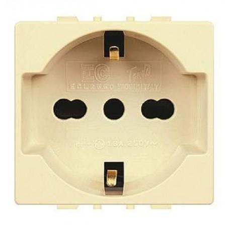 PRESA TRIVALENTE COMPATIBILE BTICINO MAGIC 220V SHUKO 10/16A ECL2550 ELETTROCANALI