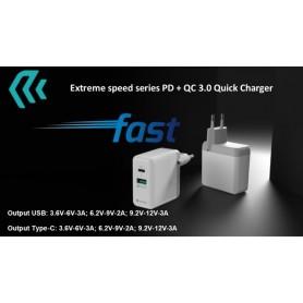 Caricatore rapido 2 Uscite USB+Tipo-C QC3 + PD 36W Bianco