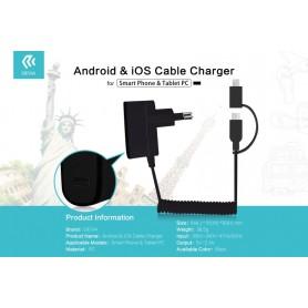 Caricabatteria con Cavo iOS / Android e Presa Usb 2.1 Amper