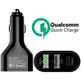 Caricabatteria Auto QC3.0 Carica Rapida 45W 2 Uscite +Type C