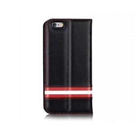 Cover a Libro in Pelle Italiana Bally iPhone 6/6S Plus Nera