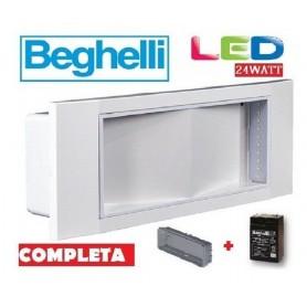 LAMPADA EMERGENZA BEGHELLI 1499/24 LED 24W INCASSO E PARETE LED COMPLETA NEW BEGHELLI - 1