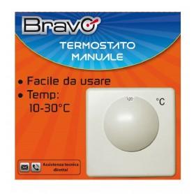 TERMOSTATO AMBIENTE MANUALE MECCANICO BRAVO 93003107 BIANCO REGOLABILE 10° A 30°
